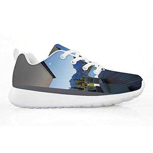 TecBillion Patio Decor Comfortable Running Shoes,Luxury Modern Summer House with Mountain Scenery and Pool for Kids Boys,EU29
