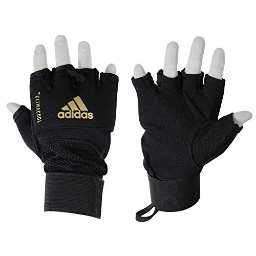 - adidas Black/Gold Quick Wrap Gloves - SM/MED