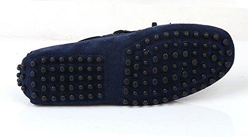 Santimon - Confort Casual Para Hombre Zapatos De Náutico Genuinos De Cuero De Nubuck Al Aire Libre Zapatos Mocasín Azul Oscuro