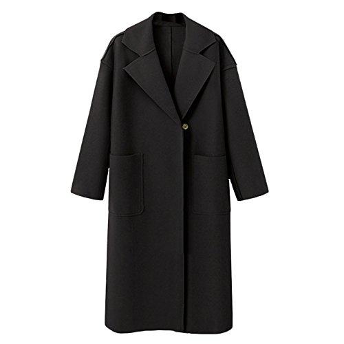 size L sleeve button Big DYF FYM Black Windbreaker Pocket Color Solid COAT Long Lapel Coat SSqp0wC