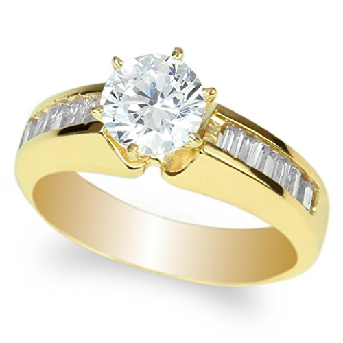 JamesJenny Women's Yellow GP Round Clear CZ Solitaire Ring with Baguette Side Stones Size 7 ()