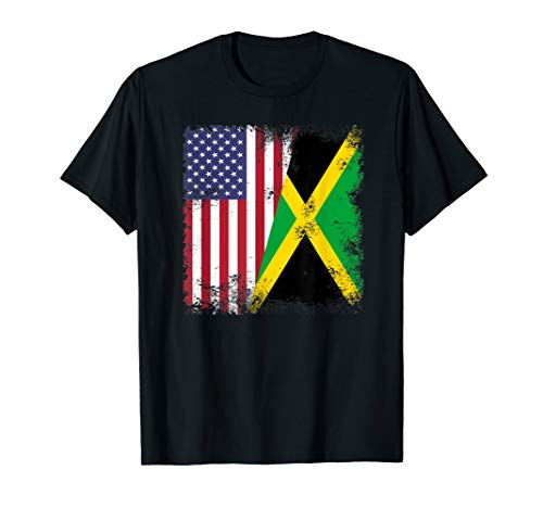 (Half Jamaican Flag T-Shirt | Vintage Jamaica USA)
