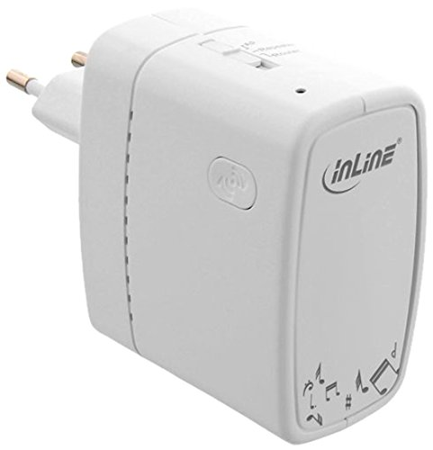 InLine Wi-Five Wireless Media Center (Router, Access-Point, Repeater, Musik Streaming, USB-Sharing, 300Mbit/s) weiß