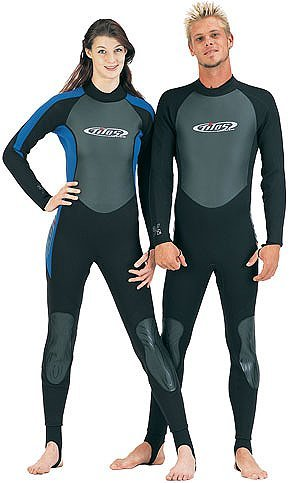 3/2mm Tilos Titanium Skin Chest Full Suit Jumpsuit Wetsuit Mens Black Scuba Dive Diving Surf Surfing Wet Suit, Black with Blue Highlights, -