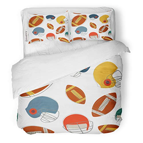 Semtomn Decor Duvet Cover Set Full/Queen Size Colorful American Football Pattern Helmet Sport Abstract Accessories Ball 3 Piece Brushed Microfiber Fabric Print Bedding Set -
