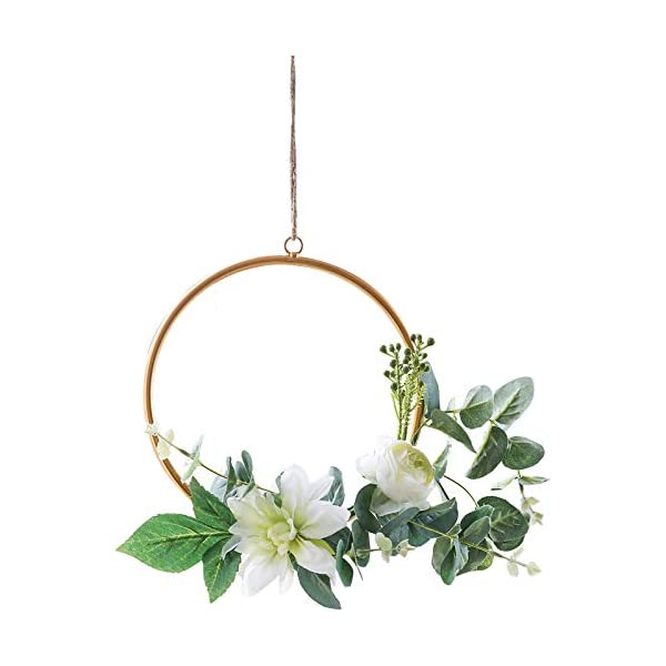 Bella's garden White Flower Wreath Summer Greenery Wedding Handcrafted Vine Wreaths for Christmas Decor Rustic Wedding Backdrop Woodland Wedding Decoration Floral Hoop (Ring)