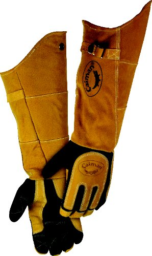 CAIMAN 1878-5 Glove, Welding, 21 In L, Blk and Gold, L, Pr by Caiman