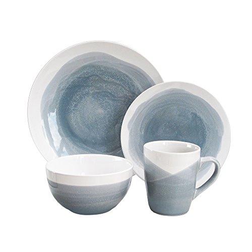 American Atelier 6702-16-RB Oasis Dinnerware Set (16 Piece), Gray/Blue (Dinnerware Used Sets)