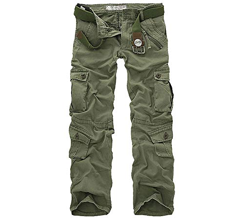LANBAOSI Hommes durables Poches Multi/Pantalons Camo Cargo Solides, Vert armée, 38