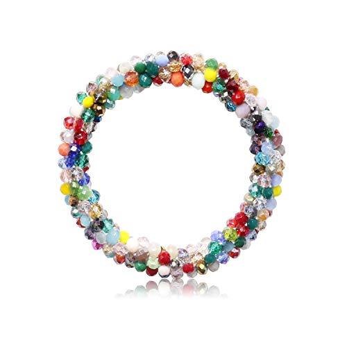 T-Doreen Colorful Crystal Stretch Bracelet for Women Girls Gemstone Beaded Boho Statement Bracelet