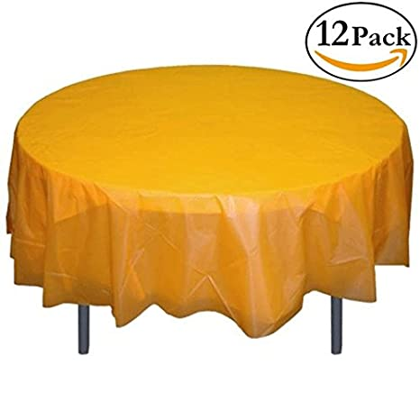 Superbe 12 Pack Premium Plastic Tablecloth 84in. Round Table Cover   Yellow