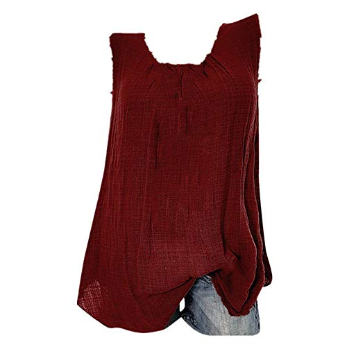 Soufun Oversize Tee Sleeveless Tank Tops Womens Cotton Linen Baggy T-Shirt Vest Tee Blouse Plus Size S-5XL - Beer T-shirt Doll Baby
