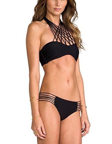 GoLoveY 2015 New Arrival Straps Mesh Halter Bikini