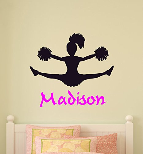 Wall Vinyl Cheerleader Wall Decal Girls Bedroom Personalized Room Decor  Team Cheer Decal Teen Room Child Kid Name Sports Wall Words Mural (31 X 36  Inches) Part 63