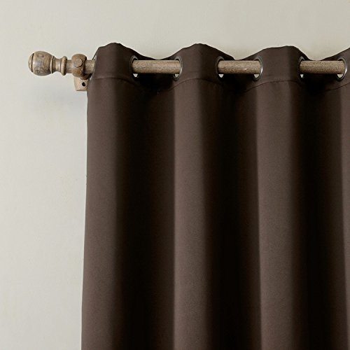 cololeaf Outdoor Curtains For Patio Waterproof 108 inches Solid Cabana Grommet Top Window Curtain Panel For Patio, Porch, Gazebo, Pergola, dock, beach home - Brown 100'' Wx108 L Inch (1 panel)