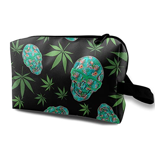 (Wodehous Adonis Skull Flamingo Plants Weed Cannabis Large Travel Cosmetic Pouch Bag Makeup Bags Portable With Zipper)
