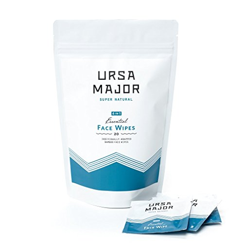 Ursa Major Essential Face Wipes - Natural Tonic-Infused Bamboo Wipes to Reboot Dull, Tired or Oily Skin with Aloe, Bamboo & Green Tea (20 Wipes)
