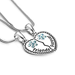 Tao Shi Best Friends Forever For 2 Bff Silver Broken Heart Pendant Necklace Charm Engraved Letters Friendship Accessories Gifts