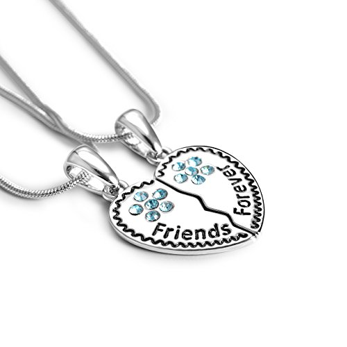 TAO SHI Best Friends Forever for 2 BFF Silver Broken Heart Pendant Necklace Charm Engraved Letters Friendship Accessories Gifts (Heart Friend Charm)