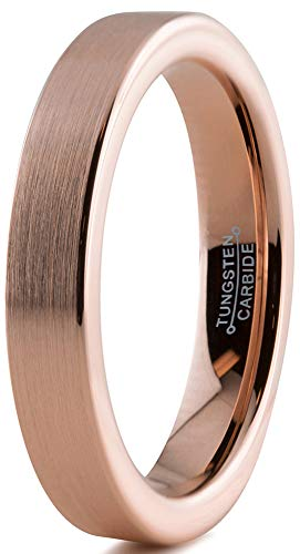 Charming Jewelers Tungsten Wedding Band Ring 4mm Men Women Comfort Fit 18k Rose Gold Black Flat Cut Brushed