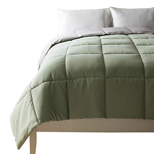 Cheer Collection All Season Down Alternative Hypoallergenic Comforter - Sage Green/Gray, Full-Queen Size (88