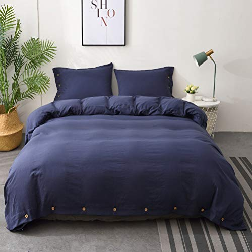 M&Meagle Duvet Cover Navy Blue,Solid Color Button Design,100% Microfiber Treated by Washed Cotton Process,Feels Like a Very Soft Cotton-Queen Size(3Pcs,1 Duvet Cover 2 Pillowcases) (Cover Duvet Navy)