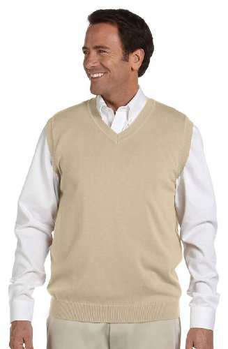 Devon & Jones Mens V-Neck Vest(D477)-Stone-L (Vests Sweaters Men Sweater)