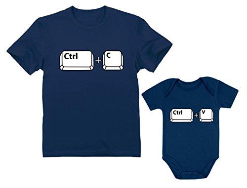 Dad & Baby Girl/Boy Copy Paste Matching Set Men's T-Shirt & Baby Bodysuit Dad Navy Large/Baby Navy 18M (12-18M)