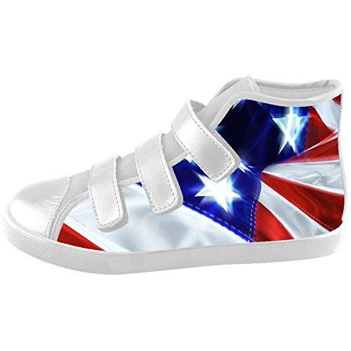 Custom Fashion America Flag Velcro Sneaker High Top Canvas Kid's Shoes