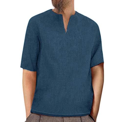 edb4ea35256 TOPUNDER Men's Baggy Retro Cotton Linen Solid Short Sleeve V Neck T Shirts  Tops Blouses Navy