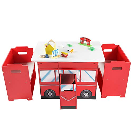 RUUF Kids Table and Chairs Set with Storage Bins, Wooden Durable Play Around Table and Chair set, Activity Table for Toddler, Adaptable Play Table with 2 Chairs, Red Bus Shaped Playroom Furniture