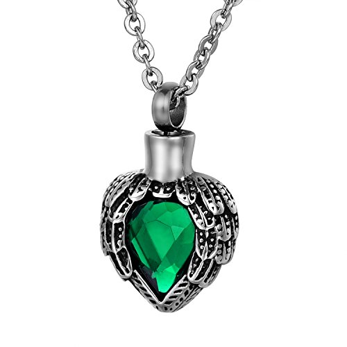 COCO Park Cremation Jewelry Stainless Steel Angel Wing Heart Pendant with Birthstone Crystal Memorial Urn Ash Necklace