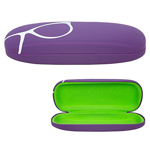 Hard Shell Eyeglass Case, Protective Case for Glasses and Sunglasses, By OptiPlix (Purple)