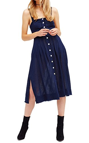 Button Strap Jumper (R.Vivimos Women Spaghetti Straps Cotton Cut Out Side Slit Dresses Small Blue)