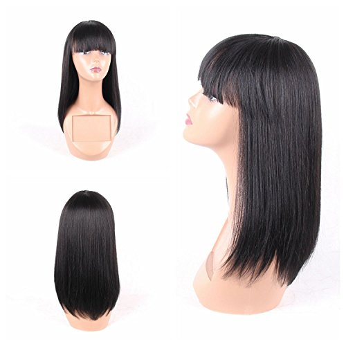 "Jiayi Wig with Bangs for Black Women Straight Yaki Synthetic Full Hair Wig Heat Resistant Black Bob Wig for Daily Wear(16"",1B)"