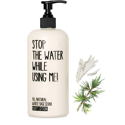 STOP THE WATER WHILE USINGME! All Natural Body Lotion: White Sage Cedar Body Lotion, Provides Ultra Moisturizing Ingredients for Tired, Sensitive & Dry Skin, Paraben & Cruelty Free, 6.7oz