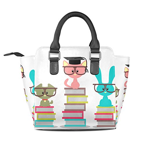 Top Shoulder PU Leather Bags Women's Book Handbags Handle Glass TIZORAX School Cats fqA8wU