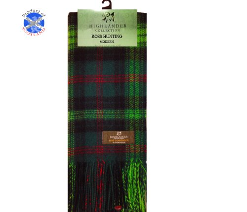 Lochcarron Hunting Ross Tartan Lambswool Scarf (Bruce Clan Tartan)