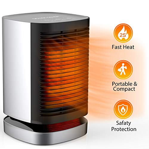 MIBOTE Space Heater 950W Portable Electric Heater Tip-Over Overheat Protection 90 Oscillation PTC Ceramic Heater with 2s Quick Heating 3 Modes for Home Office