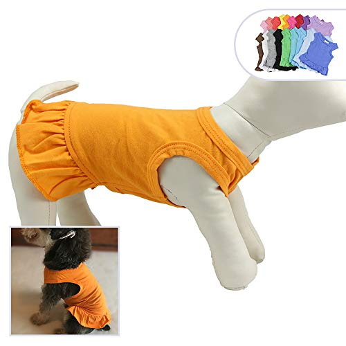Pet Clothes Small Dog Clothing Blank Color Sport Dress T-Shirts Tee Dresses Tanks Top for Small Size Female Dogs Summer Spring Pet Costumes 100% Cotton (M, Orange)