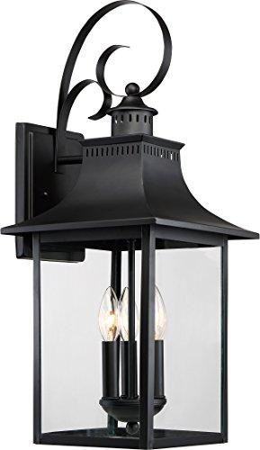 Quoizel CCR8410K Chancellor Outdoor lantern Wall Sconce, 3-Light, 180 Watts, Mystic Black (24