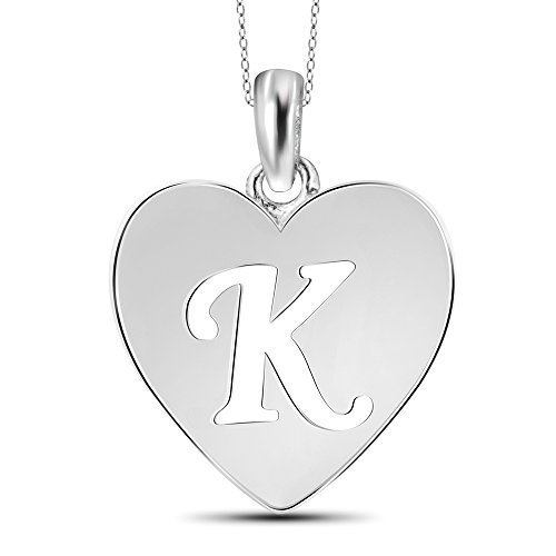 Jewelexcess Sterling Silver K Initial Cutout Heart ()