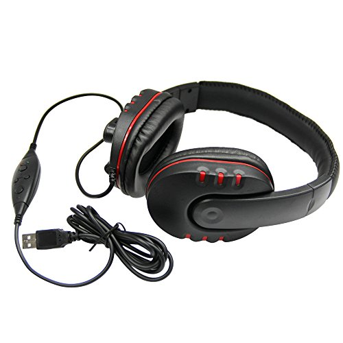 (FarJing Fashion New USB Wired Stereo Micphone Gaming Headphone Headset Noise Cancelling Soft Memory Earmuffs)