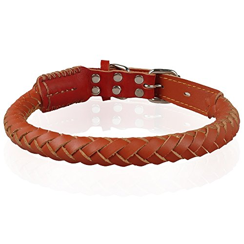 Berry Pet Leather Rolled Dog Collars for Medium and Large Dogs (Berry Dog Collar)