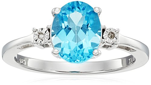 Sterling Silver Swiss Blue Topaz and Diamond Oval Ring, Size 7 Blue Topaz & Diamond Oval Ring