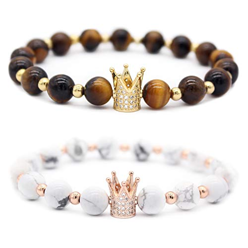 Gemfeel 8mm Tiger Eye Stone & White Howlite CZ Her King/His Queen 8mm Beads Couple Bracelet, 7.6