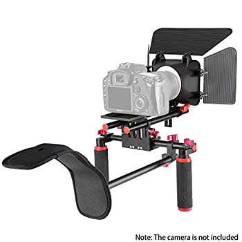 Neewer Camera Movie Video Making Rig System Film-maker Kit For Canon Nikon Sony & Other Dslr Cameras, Dv Camcorders,includes: Shoulder Mount, Standard 15mm Rail Rod System, Matte Box (Red & Black) 4