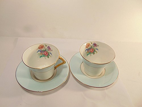Colclough Genuine Bone China Pale Blue Band with Flowers and Gold Accent Trim Cup and Saucer, Set of 2