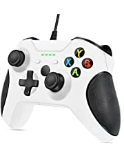 VOYEE Upgraded Wired Controller Compatible with Microsoft Xbox One/X/S/Elite with Headphone Jack (White)