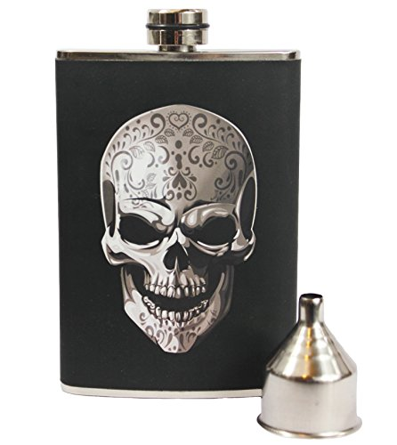 (8oz Stainless Steel Primo 18/8#304 Skull Wrap Premium/Heavy Duty Hip Flask Gift Set - Includes Funnel and Gift Box)